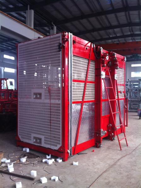 1000kg Twin Cage Construction Hoist Elevator for Building Material