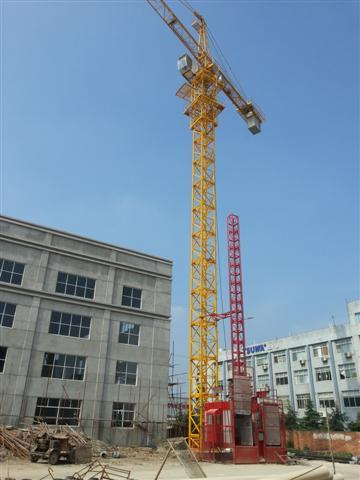 6ton Potain Tower Crane / Luffing Crane 5015 Stationary Attached with 50.2M Height Under Hook
