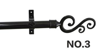 Durable Construction Hoist Elevator Black Curtain Pole With Brackets And Caps
