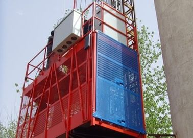 China 2700kg VFD Red Single Cage Construction Material Hoists for Mining Wells factory